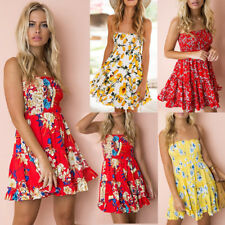 UK Womens Elastic Floral Summer Beach Jumper Smock Sun Bandeau Ladies Mini Dress