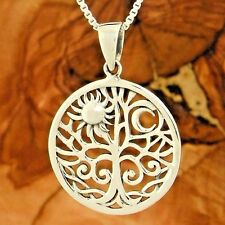 Tree of Life Sun Moon Sterling Silver Pendant Chain Nature Necklace Charm Gift