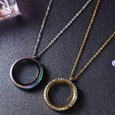 Floating Charm Living Memory Round Glass Locket Pendant Necklace Women Jewelry