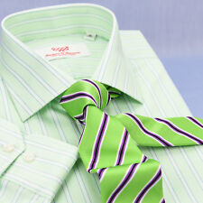 Lime Green Twill Stripe Formal Business Dress Shirt Exclusive Striped Fashion A+