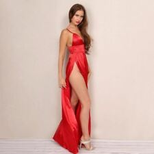 Women Red Color Backless Side Slit V Neck Spaghetti Strap A Line Long Maxi Dress