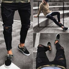 Men Pants Bike Jeans Slim Fit Destroyed Ripped Stretch Skinny Denim Trousers New