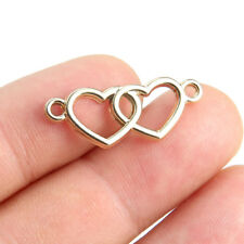 10PC Gold/Silver Plated Double Heart Shaped Connector Beads Charm DIY Jewelry