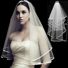 Quality White or Ivory 2 Tiers Wedding Bridal Veil Satin Edge with Comb Elbow