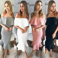 Womens Summer Off The Shoulder High Low Bodycon Mermaid Evening Party Midi Dress