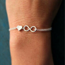 Gold Silver Lucky Number 8 Designed Love Heart Chain Bracelet Bangle Jewelry ATC