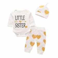 3Pcs Newborn Baby Girl Clothes Letter Print Romper+ Casual Pants+Hat Outfits Set