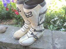 FOX F3 RACE WHITE LEATHER & BLACK THERMO PLASTIC SIZE 10 UK, MOTOCROSS BOOTS