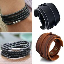 Men Handmade Multilayer Weave Leather Punk Bracelet Bangle Wristband Jewelry New