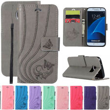 For Samsung Galaxy S5 S6 S7 Butterfly Leather Flip Stand Card Wallet Case Cover
