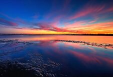 Sunset Reflected In Water - Landscape Poster - Sunset Photo Print - Scenic Art
