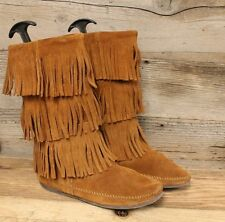 MINNETONKA WOMENS BROWN LEATHER 3 LAYER FRINGE MID CALF MOCCASIN BOOTS SZ 9