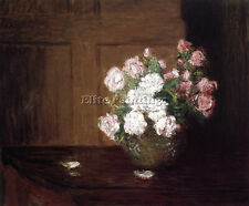 WEIR JULIAN ALDEN ROSES SILVER BOWL MAHOGANY TABLE ARTIST PAINTING OIL CANVA ART