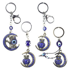 Turkey Blue Evil Eye Moon Owl Keychain Key Chain Ring Amulet Pendant Lucky Charm