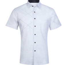 Men's Fashion Luxury Casual Slim Fit Stylish Short Sleeve Shirts Tops New White