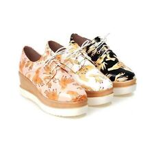 Womens creepers lace up faux leather outdoor comfortable athletic flats shoes