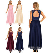 Womens Bridesmaid Dress Lace Long Sleeveless Evening Dresses Formal Prom Gowns