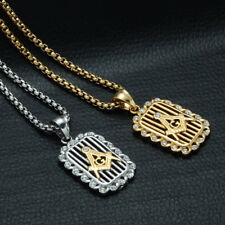 Fashion Mens Gold Plated Free Mason Dog Tag Pendant Stainless Steel Necklace