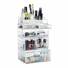 Tall Cosmetic Organizer, Makeup Tower Shelf with Drawers, Stackable Stand