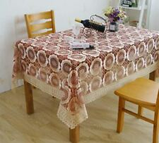 Floral Pattern Embroidered With Wide Lace Decorated Trim Tablecloth