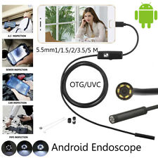 1M-5M Android Endoscope Waterproof Snake Borescope USB Inspection LED HD Camera