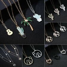 Fashion Charm Map Round Hollow Heart Cute Cactus Pendant Necklace Women Jewelry