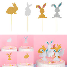 Easter Craft Party Favors Cake Decor Glitter Rabbit Cupcake Toppers Picks Card