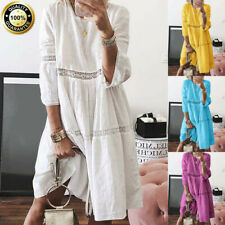 Womens Boho Solid 3/4 Sleeve Hollow Out Splice Loose Casual Beach Mid-Long Dress