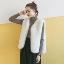 Women's Waistcoat Jacket Faux Fox Fur Ladies Sleeveless Coat Outwear Vest Gilets