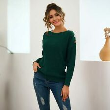 Long Sleeve Tops Knitted Womens Pullover Knit Shirt Jumper Knitwear Loose Casual