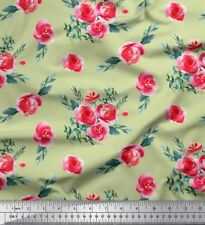 Soimoi Fabric Leaves & Rose Floral Printed Craft Fabric by the Yard - FL-397E