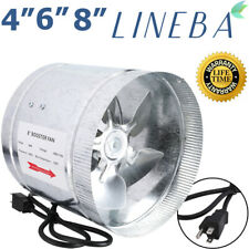 """LINEBA 4"""" 6"""" 8"""" Inch Duct Booster Inline Blower Fan Exhaust Ducting Cooling Vent"""