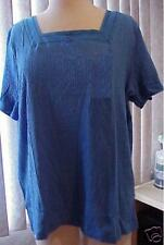 Women's plus size slimming sexy blue stretchy top 1X 2X  brand new with tags