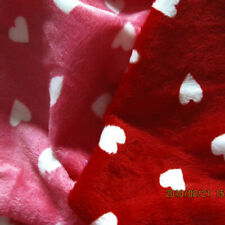 SOFT MINKY MINKEE CHENILLE FABRIC LOVELY VALENTINE HEARTS BABY BLANKET CLOTH 60""
