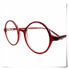 Slight Large Round Reading Glasses NEW RED ALL Strength