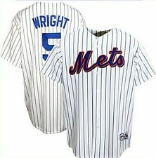 David Wright #5 Mets Majestic White Pin Stripe Replica Jersey Big Sizes