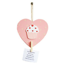 Rustic Hanging Wooden Heart Cupcake Memo Peg Holder Pink Cream Gift For Her