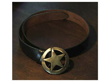 Black Leather Pentagram Star Pagan Belt and Buckle