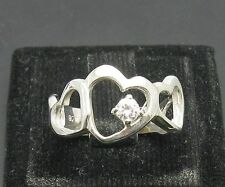 STERLING SILVER RING SOLID 925  HEART CZ SIZE J - T
