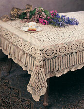 """Handmade Crochet Lace Tablecloth 72""""x90"""" White, Beige"""
