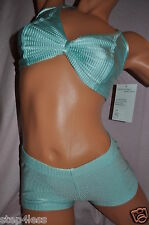 Bal togs Dancewear Outfit-2 PC Lot-Adult size Small Light  Teal Bra+shorts-