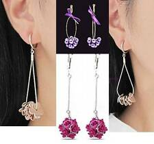 1 Pair ClipOn Dangle Earrings Options To Select:Rose,Purple Grape,Hearts,Flowers