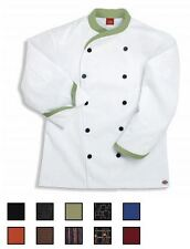 NWT Dickies CW070303 Contrast Trim Executive Chef Coat 34-54 WHITE Twill Stretch