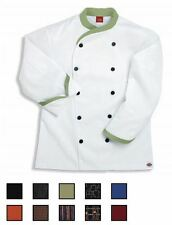 NWT Dickies CW070303 Contrast Trim Executive Chef Coat 34-62 WHITE Twill Stretch