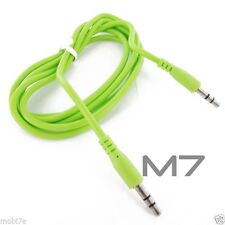 GREEN AUXILIARY CABLE CORD for SAMSUNG PHONES - JACK 3.5mm CAR AUDIO AUX WIRE