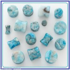 BLUE LACE Agate ROUND Ear Plug gem stone Double flared 7 sizes 3mm-12mm