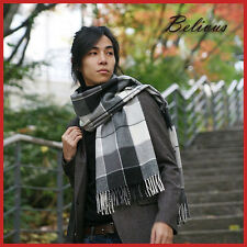 BELIVUS GRAY PATTERN CHECK SCARF/Warm Long Scarves/Shawl Soft Wool Touch gift