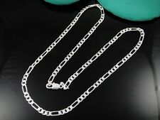 Free Shipping XMAS Gift 16inch~24inch 4MM Figaro Silver EP Unisex Chain Necklace