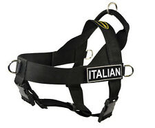 No Pull Dog Harness with Removable Fun Patches ITALIAN