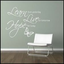 Wall Sticker Quote Learn Live Hope Home Decal Decorative Bedroom Lounge Kitchen